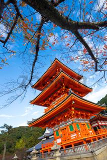 Japnese temple Kiyomizu dera in Kyoto.