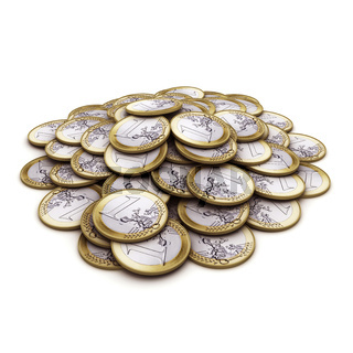 Heap coins of one euro. 3d render on white background