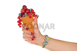 fresh berries in wafer