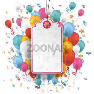 Price Sticker Balloons Percents Confetti