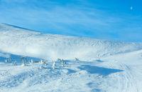 Ski lift on winter hill.