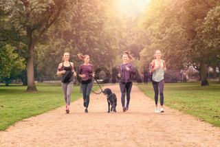 Freundinnen machen Jogging im Park