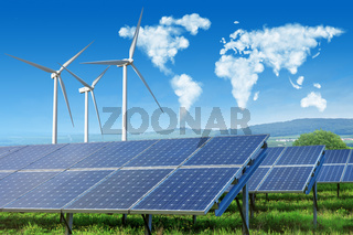 solar panels and wind turbines with world map