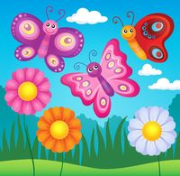 Happy butterflies theme image 3 - picture illustration.