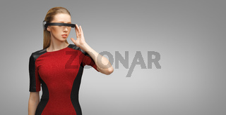 woman with futuristic 3d glasses