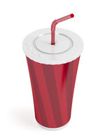 Paper cup with bendable straw