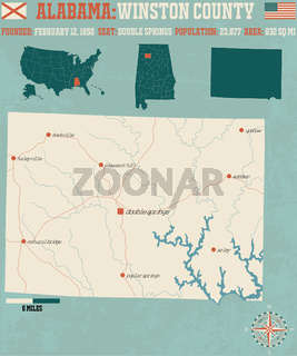 Large and detailed map and infos about Winston County in Alabama