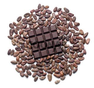 dark chocolate bar and cocoa beans