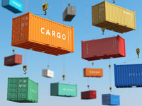 Cargo shipping containers in storage area with forklifts. Delivery background concept.
