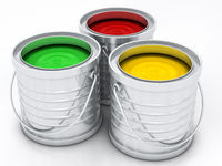 three color paint cans