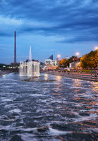 Night view of the Historical park with light and music fountain on the channel dam in Yekaterinburg.