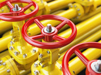Yellow oil or gas pipe line valves. 3d