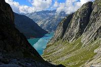 Hydroelectric water reservoir Lake Gelmersee, Grimselwelt, Bernese Oberland, Switzerland