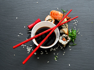 Sushi with soy