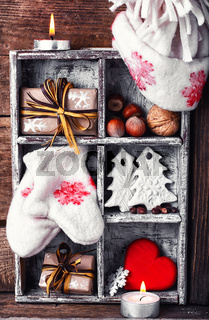 Winter decoration with gifts