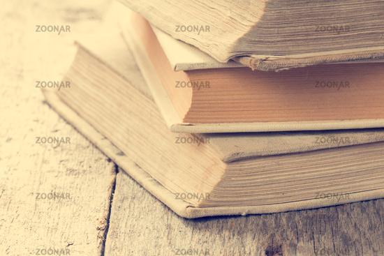 Books in vintage tone color