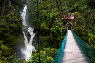 Mountain river and waterfall in the Andes