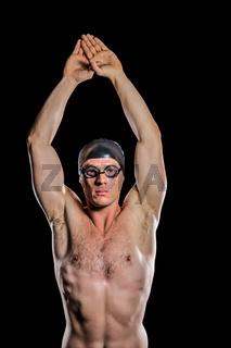 Swimmer preparing to dive
