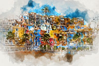 Villajoyosa skyline. Spain, digital watercolor painting