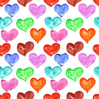 Watercolor hearts seamless