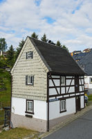 Saxonian half-timbered houses with slated gable, Grünhainichen, Saxony, Germany