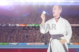 Composite image of fighter holding gold medal and screaming