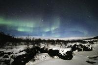 Abiskojakka-Canyon and Northern Lights in winter