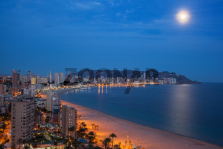 View of Benidorm at night