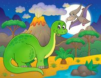 Night landscape with dinosaur theme 6 - picture illustration.