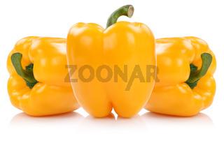 Paprika gelb Paprikas Gemüse Freisteller freigestellt isoliert