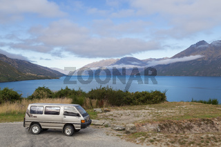 Campervan in front of Lake Wakatipu, New Zealand