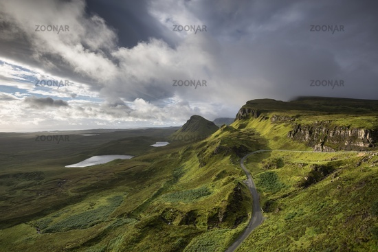Light mood after sunrise in the rocky landscape Quiraing