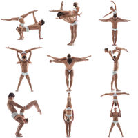 Photo collection of acrobats posing in pair