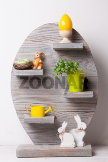 Easter shelf with decor
