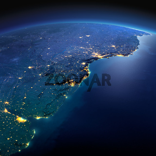 Detailed Earth. South America. Rio de La Plata on a moonlit night