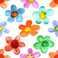 Multicolored watercolor flowers