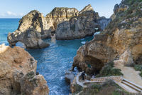 Rock at Ponta da Piedade and stairs to the caves