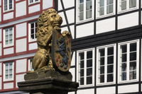 Celle - Lion with coat of arms of the Principality of Lüneburg