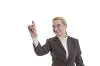 Woman pointing to the left with your hand