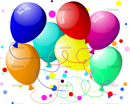 colourful balloons with glare