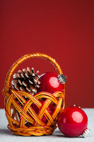 Christmas decoration with festive pinecone
