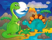 Night landscape with dinosaur theme 8 - picture illustration.