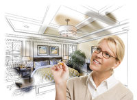 Woman With Pencil Over Bedroom Design Drawing and Photo Combination