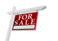 Home For Sale Real Estate Sign on White