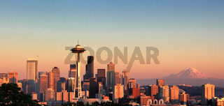 Sunset over the city of Seattle Washington during a nice summer day