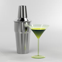 Shaker and cocktail glass
