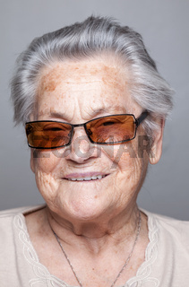 Closeup portrait of an elderly woman