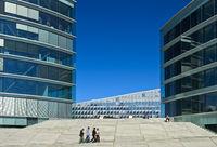 Moderner Neubaukomplex mit dem Maison de la paix