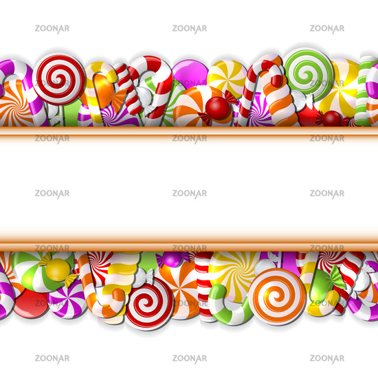 Sweet banner with colorful candies.