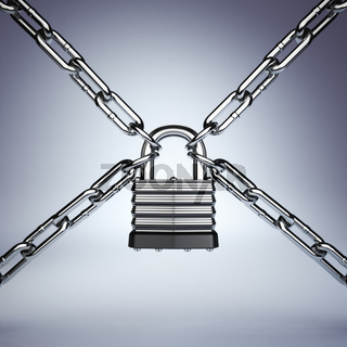 Security concept. Lock and chain. Under protection.